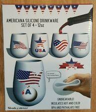 Shark Skinz Americana Silicone Drinkware Set of 4 #19538 Multicolor USA