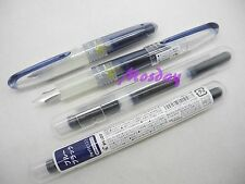 2Pcs Pilot Petit1 SNP-20F Mini Fine Nib Fountain Pen+ 6 Cartridges, BLUE BLACK