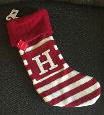 "Letter Initial Monogram H 19"" White/Red Holiday Knit Stocking Xmas Wondershop"