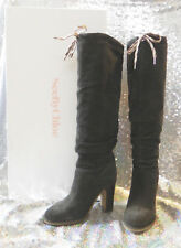 Auth. See by Chloé MARU Overknees High Heel Boots Real Leather Grey 38,5 38 8