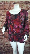 Cupio Black Red Black  Geo Boho Peasant  Top Blouse Shirt Sz 3X
