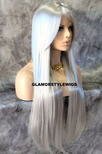 Very Long Straight Layered Silver White Full Synthetic Wig Hair Piece #Chrome