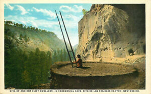 Postcard Kiva of Ancient Cliff Dwellers, Rito de Los Frijoles Canyon, New Mexico