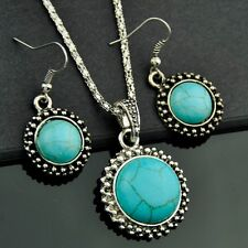 Tibetan Style Turquoise Pendant Necklace Earrings Jewelry Sets