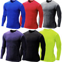 Mens Compression Fitness Athletic Base Layer Tops Long Sleeve Sports GYM T-shirt