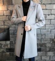Mens winter wool parkas long jacket woolen coat trench outwear overcoat