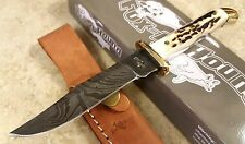 Fox n Hound Damascus Fixed Blade Hunting Knife with Stag handle + Leather Sheath