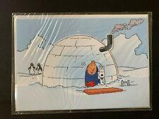 Tintin igloo Enveloppe PAP + carte neuf, sous blister. 4 photos
