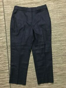 J Crew Womens 10P Petite Easy Pant Stretch Linen Blue H7719 NWT