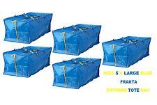 NEW IKEA 5 X  LARGE BLUE FRAKTA ZIPPERED TOTE STORAGE LAUNDRY BAG FREE SHIPPING