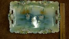 R.S. Prussia Icicle Mold & Swan Scene and Handled Plate