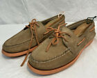 Sperry Top Sider Brown Orange Soles Leather Boat 2 Eye Deck Shoes Women 10