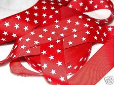"Red STAR Printed Ribbon, 7/8"" Patriotic July 4th Boutique Hair Bows Wreath 3y"