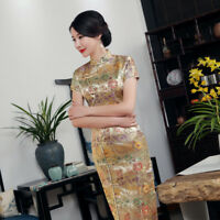 Women's brocade Retro Cheongsam Chinese Dress Evening long slim lady Qipao Size