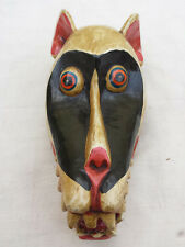 M142 - HAND CARVED AFRICAN ANIMAL MONKEY FACED WOODEN MASK/WALL HANGING  NEPAL