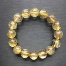 13mm Natural Hair Rutilated Quartz Crystal Bracelet