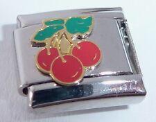 RED CHERRIES Italian Charm - Cherry Fruit 9mm fits Classic Starter Bracelers E13