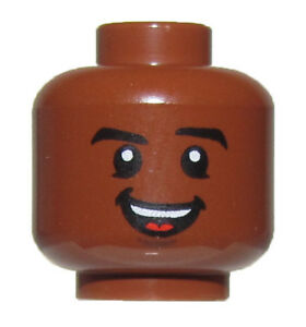 LEGO NEW REDDISH BROWN MINIFIGURE HEAD DUAL SIDED SMILE AND SCOWL BOY GUY