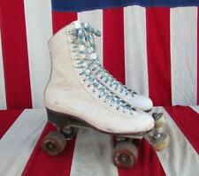 "Vintage Riedell White Leather Roller Skates Fo-Mac Cadet Wheels 10"" Boot Length"