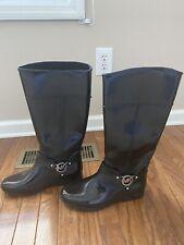 Michael Kors womens black tall glossy rubber rain boots Size 9