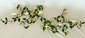 """Pair Vintage Tole Painted 3 Candle Wall Sconces Italy 30"""" branches flowers"""
