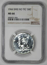 1966 SMS NO 'FG' KENNEDY HALF DOLLAR 50C NGC CERTIFIED MS 66 MINT STATE UNC (004