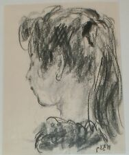 "Profile of a Young Girl Charcoal Drawing-12"" x 9""- 1950s-Robert Philipp"