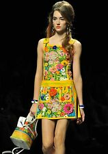 $2.1K MOSCHINO RUNWAY 60's Floral-print Embellished Mini Dress IT 42 U.S 6 NWOT