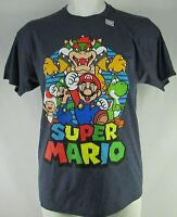 Men's Super Mario Blue Short Sleeve Graphic T-Shirt