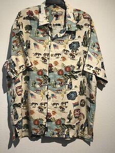 Vintage Tommy Bahama Native American Sedona Yuma Navajo Flag Reservation Shirt