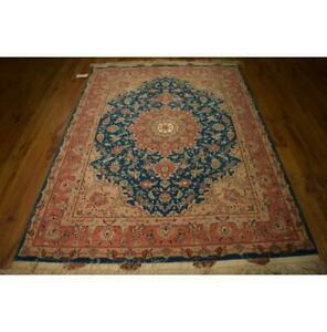 5x7 Authentic Fine Hand Knotted Wool Silk Rug 400 KPSI Torqouise Blue  LA-53282