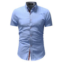 New Mens Shirts Short Sleeve Slim Fit  Button Down Dress Casual Shirt TAD169