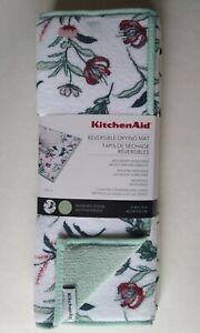 KitchenAid 2 Royal Floral Mint Green Reversible Dish Drying Mat
