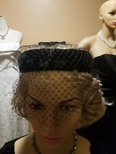 Union Made 1950's black velvet hat with big sequence netting