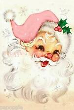 Fabric Block Chic Shabby Pink Jolly Santa Claus Twinkly Christmas