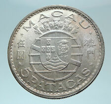 1971 MACAU under PORTUGAL Silver 5 PATACAS with Coat of Arms Vintage Coin i78777