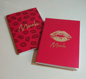 Mwah A5 NOTEBOOK Red KISS LIPS Yellow Gold Metallic Foil LINED WHITE PAGES Love