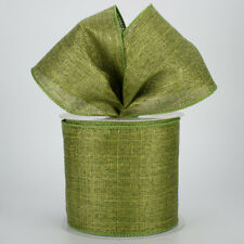 """NEW 4"""" METALLIC LIME GREEN ROYAL CANVAS FALL WIRED RIBBON /3 YARDS OFF ROLL"""