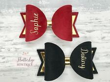 Set Of 2 Small Personalised School Bow, Toddler Hair Clip, Any Colour, Any Name