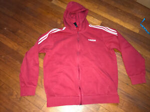Adidas Red Full-Zip Jacket Hoodie L