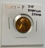 1977-P Lincoln Memorial Cent Uncirculated BU Red DIE ROTATION ERROR! FREE SHIP!
