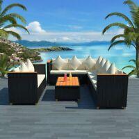 vidaXL Garden Sofa Set 27 Piece Wicker Poly Rattan Black WPC Outdoor Furniture