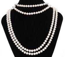 Misaki Long White Glass Pearl String Rope Necklace 180cm Multi Wear Bridal