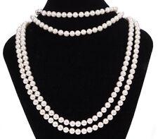 MISAKI lunga Perla Vetro Bianco Collana Corda Stringa 180 cm Multi indossare abiti da sposa