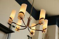 TRUE VINTAGE Stilnovo MESSING 60er DECKENLAMPE LAMPE Opal 6-flammig Leuchte