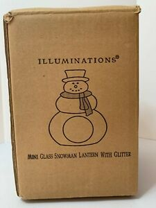 ILLUMINATIONS MINI GLASS SNOWMAN LANTERN WITH GLITTER NIB NEW RARE