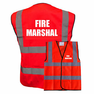 Fire Marshal RedHi Vis Safety Vest, Hi Viz WaistcoatPre Printed Tabard
