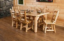 """Rustic White Cedar Log Family 72"""" Dining Table Set with 6 Chairs- Amish Made USA"""
