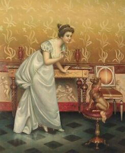 """24""""x 20"""" Oil Painting on Canvas, Young Lady Teaching her Dog Tricks"""