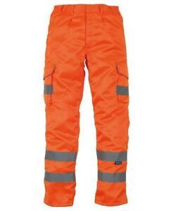Hi Vis Polycotton Cargo Work Trousers Combat Visibility Pants Knee Pad Pockets